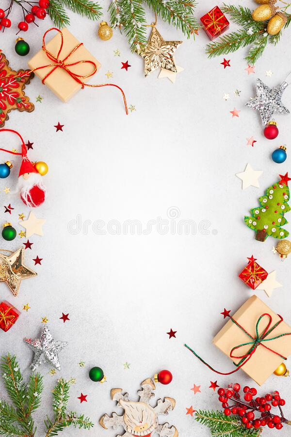 Free Christmas Background With Gift Boxes, Festive Decor, Fir Tree Branches And Paper Cards Notes. Flat Lay Royalty Free Stock Photography - 196533297