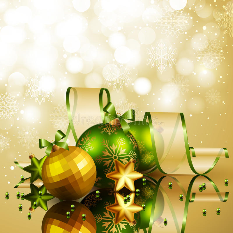 Free Christmas Background With Green And Golden Balls Royalty Free Stock Photos - 22553388