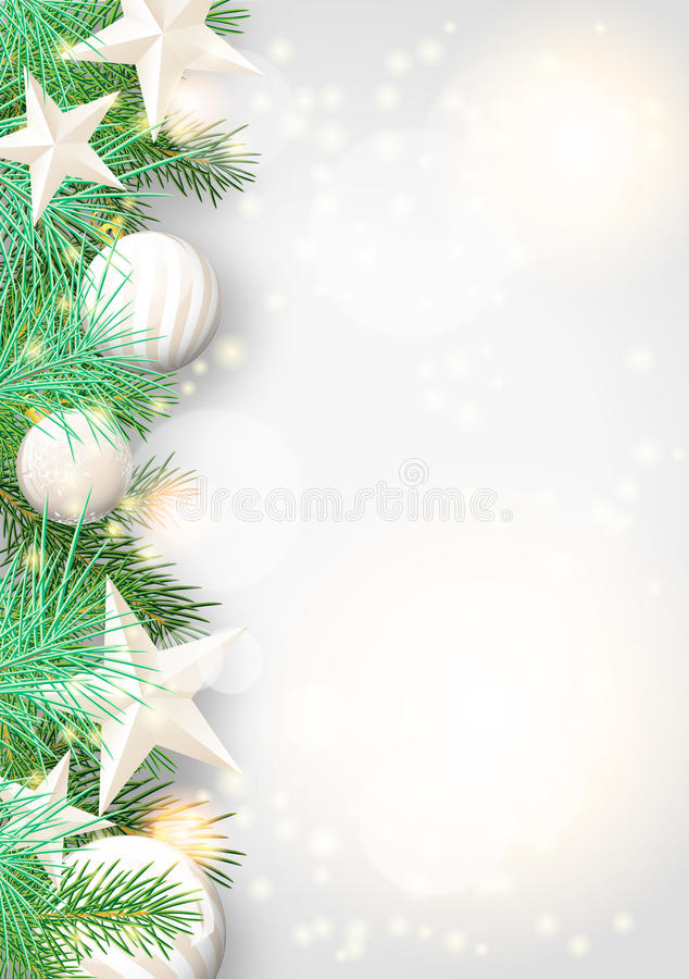 Free Christmas Background With Green Branches And White Ornaments Stock Image - 44851261
