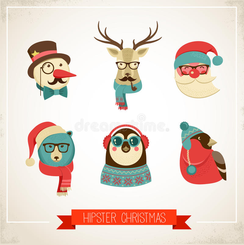 Free Christmas Background With Hipster Animals Royalty Free Stock Photography - 33525597