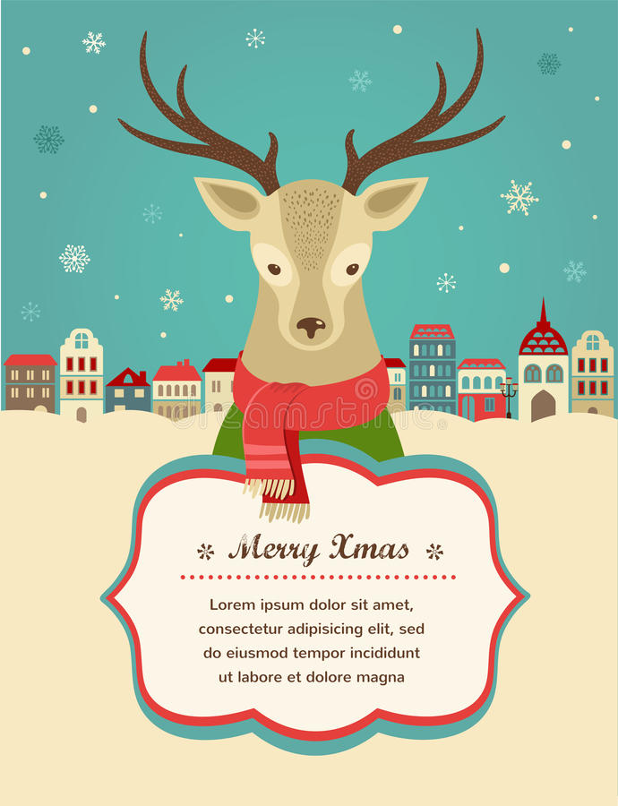 Free Christmas Background With Hipster Deer And Ribbon Royalty Free Stock Photo - 33525885