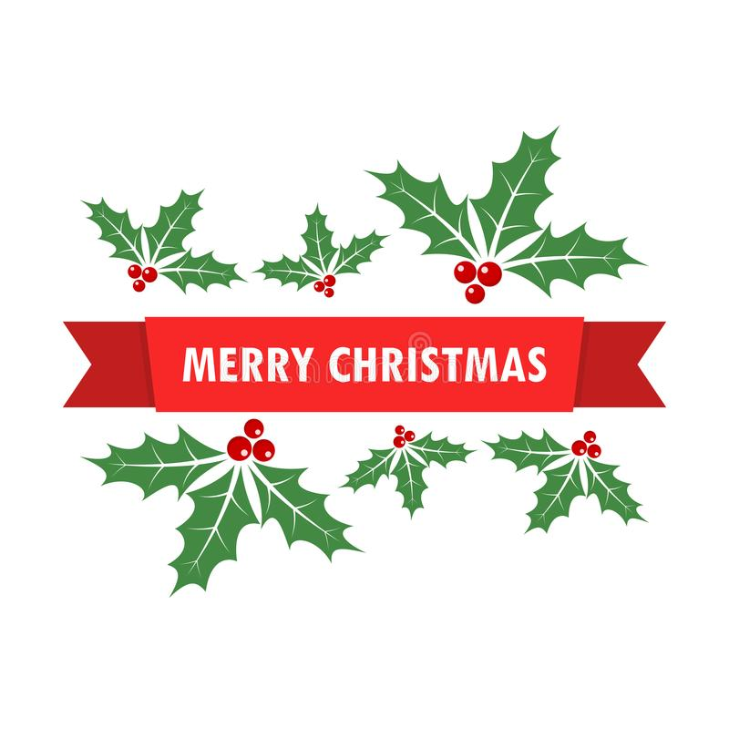 Free Christmas Background With Holly Berry Leaves. Vector Illustration Stock Image - 104109261