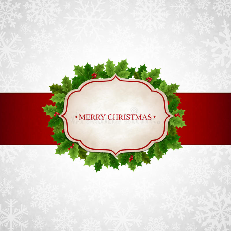 Free Christmas Background With Holly Leaves Stock Images - 34818864