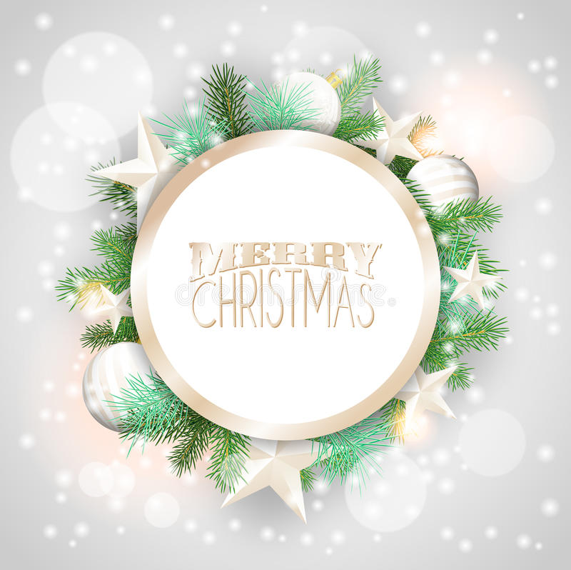 Free Christmas Background With White Ornaments And Branches Stock Image - 44324321