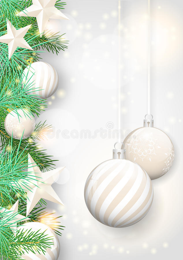 Free Christmas Background With White Ornaments And Branches Royalty Free Stock Photo - 44433425