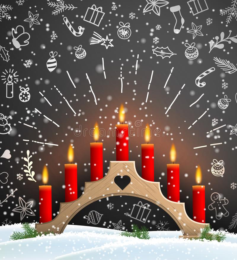 Christmas background with wooden candlestick and red candles. Christmas background with wooden traditional candlestick and red candles on black background with royalty free illustration