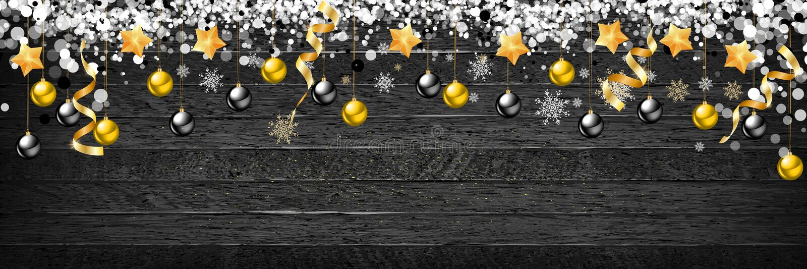 Christmas background with wooden decorations and spot lights. Free space for text. Celebration and decorative design. Vector. Illustration stock illustration