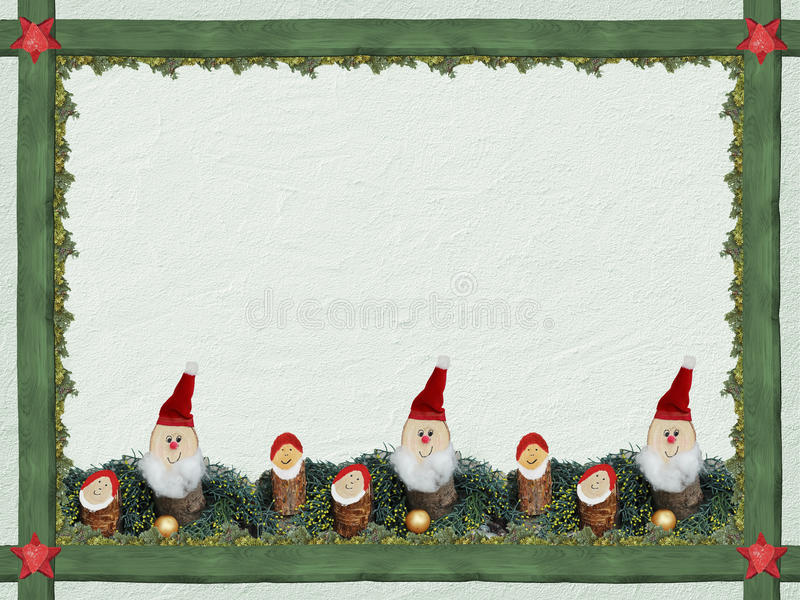 Christmas background with wooden frame and cute dwarfs royalty free stock images