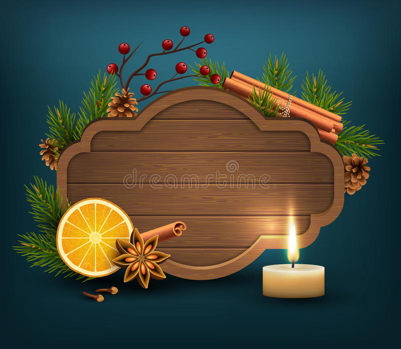 Christmas Background with Wooden Frame Spices and Candle on Dark. Blue Background vector illustration