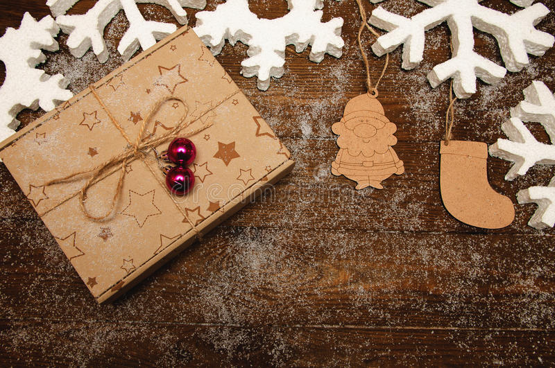 Christmas background with wooden toys royalty free stock images