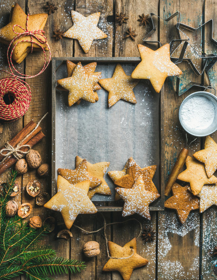 Christmas background with wooden tray in center, copy space royalty free stock photo