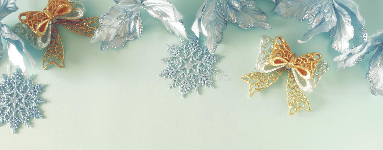 Christmas background . Xmas or new year white silver color decorations on blue  background stock photo