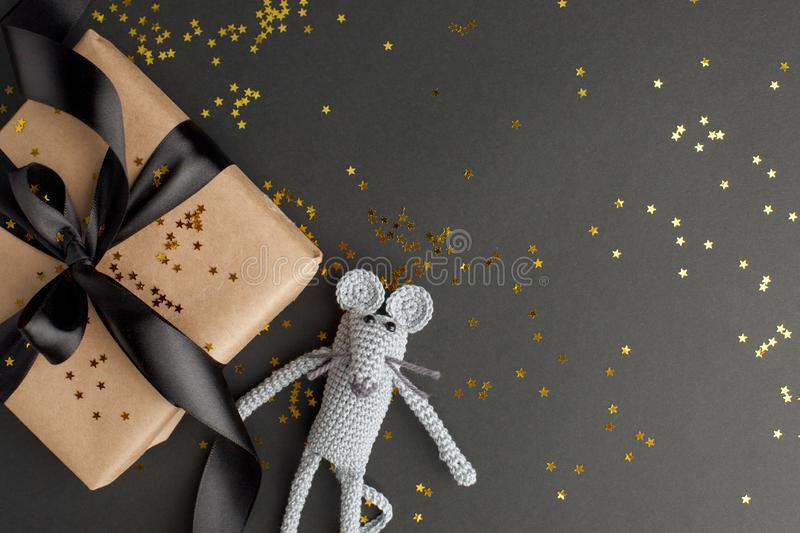 Christmas background. Xmas rat, mouse toy, symbol chinese happy new year 2020. Close up mouse toy and new year gift box. horoscope. Sign 2020. Copy space royalty free stock photos