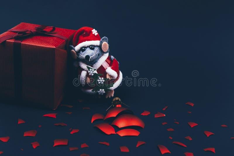 Christmas background. Xmas rat, mouse toy, symbol chinese happy new year 2020 royalty free stock photo