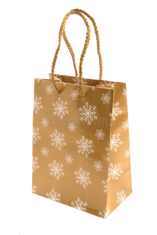 Christmas gift bag stock images