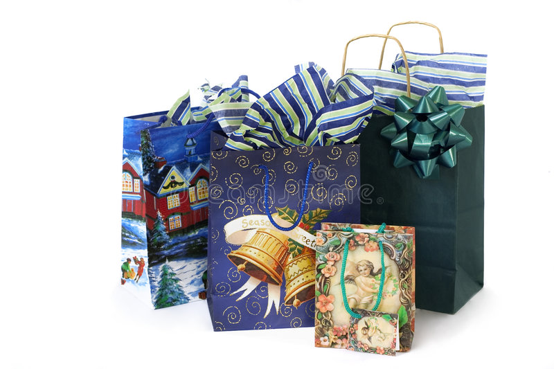 Christmas bags with presents royalty free stock photo