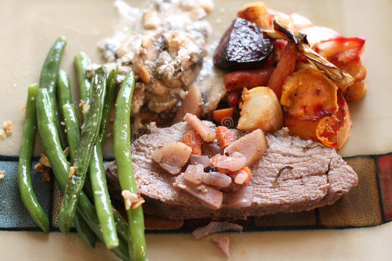 Christmas baked dinner with meat and vegetables