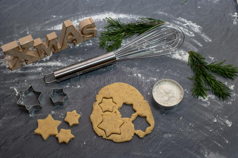 Christmas Baking background. Ingredients for cooking christmas b stock images