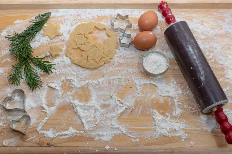 Christmas Baking background. Ingredients for cooking christmas b royalty free stock images