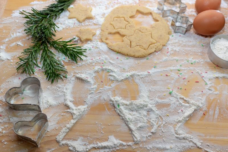 Christmas Baking background. Ingredients for cooking christmas b royalty free stock photos