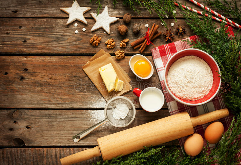Christmas - baking cake background with dough ingredients royalty free stock photos