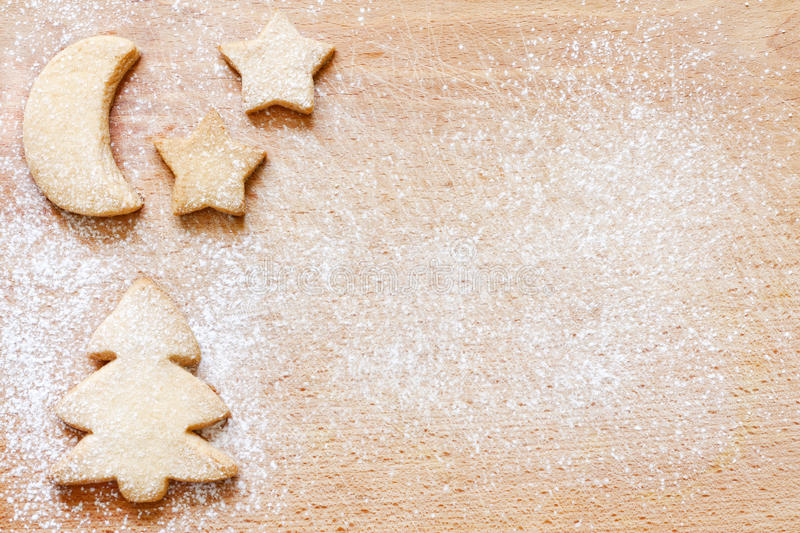 Christmas baking cookies abstract food background. On cutting board stock image
