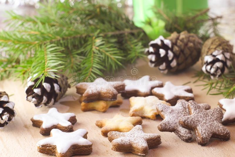Christmas baking - shortbread cookie in the form of an asterisk royalty free stock photo