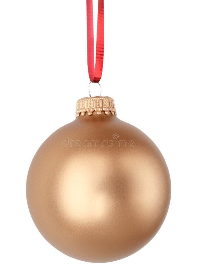 Christmas ball. Gold Christmas ball isolated on white background stock photo