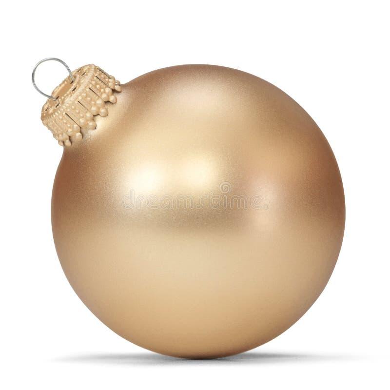 Christmas ball. Gold Christmas ball over white background royalty free stock image