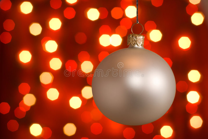 Christmas ball. Silver christmas ball - shallow depth of field royalty free stock images