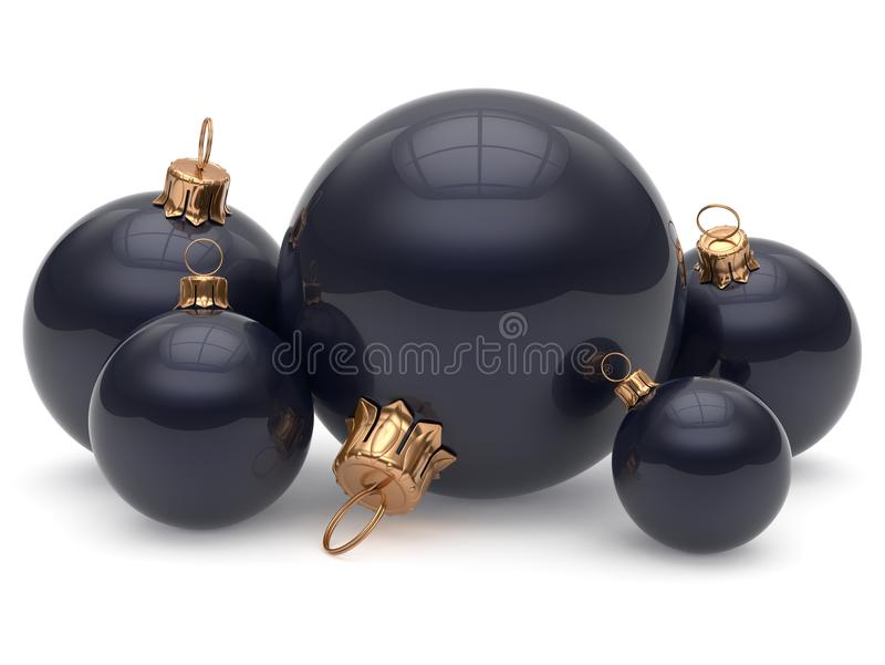 Christmas ball adornment decoration glossy black New Years Eve. Shiny wintertime hanging baubles group. Traditional ornament happy winter holidays Merry Xmas royalty free illustration