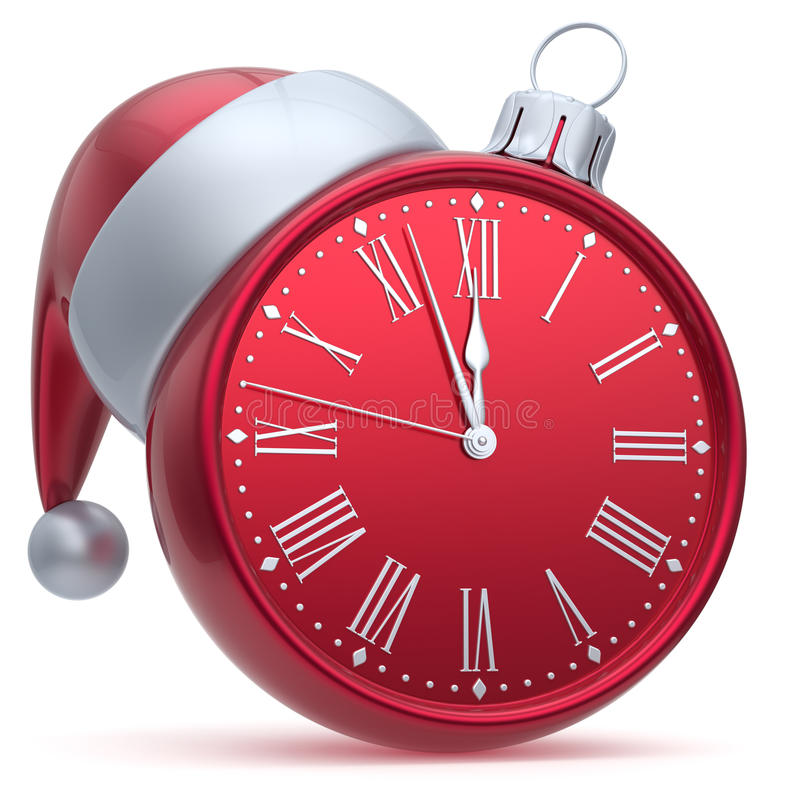Christmas ball alarm clock New Year's Eve time Santa hat red royalty free stock photos