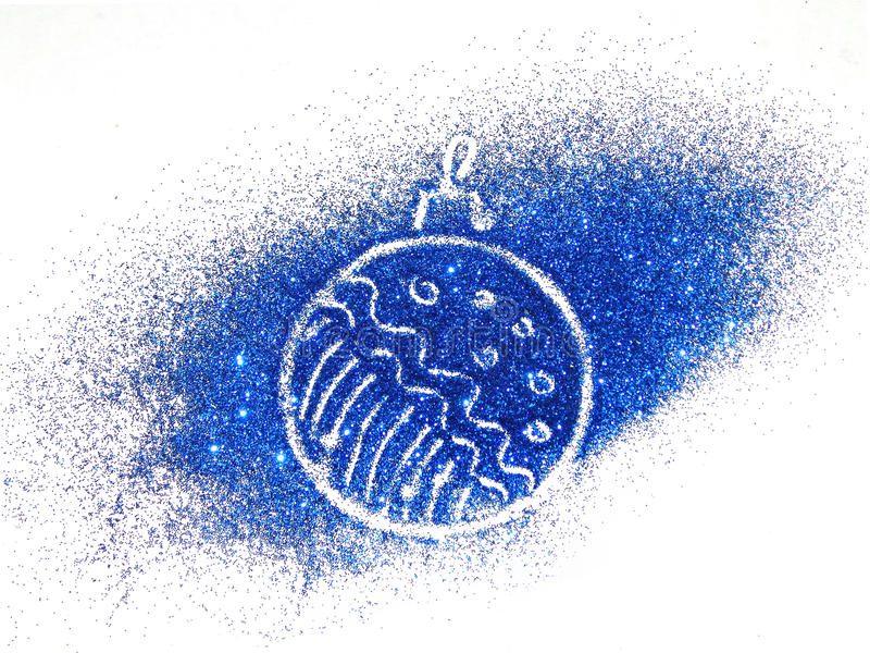 Christmas ball of blue glitter sparkle on white background. Christmas ball of blue glitter sparkle on the white background stock photography