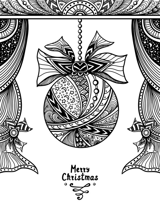 Christmas Ball with bow and curtains in Zen-tangle style black on white stock illustration