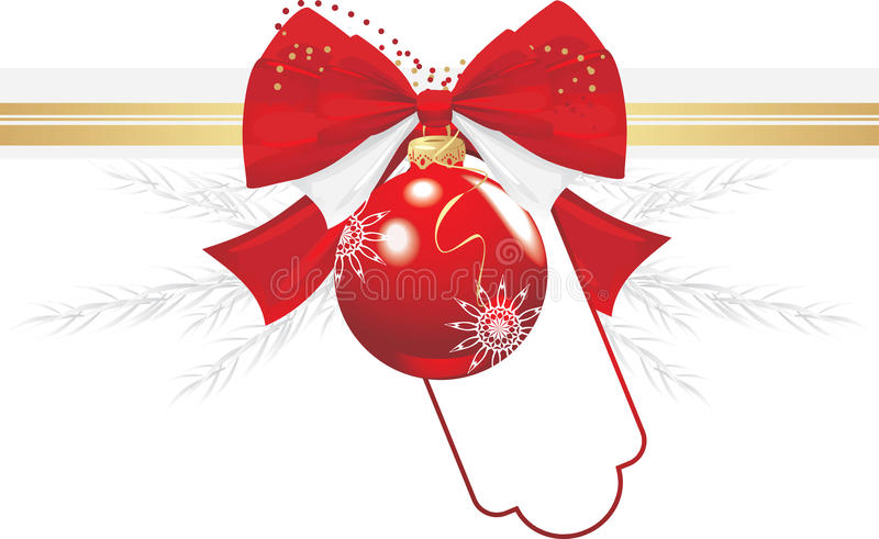 Download Christmas Ball With Bow And Tinsel. Festive Border Royalty Free Stock Image - Image: 21567716