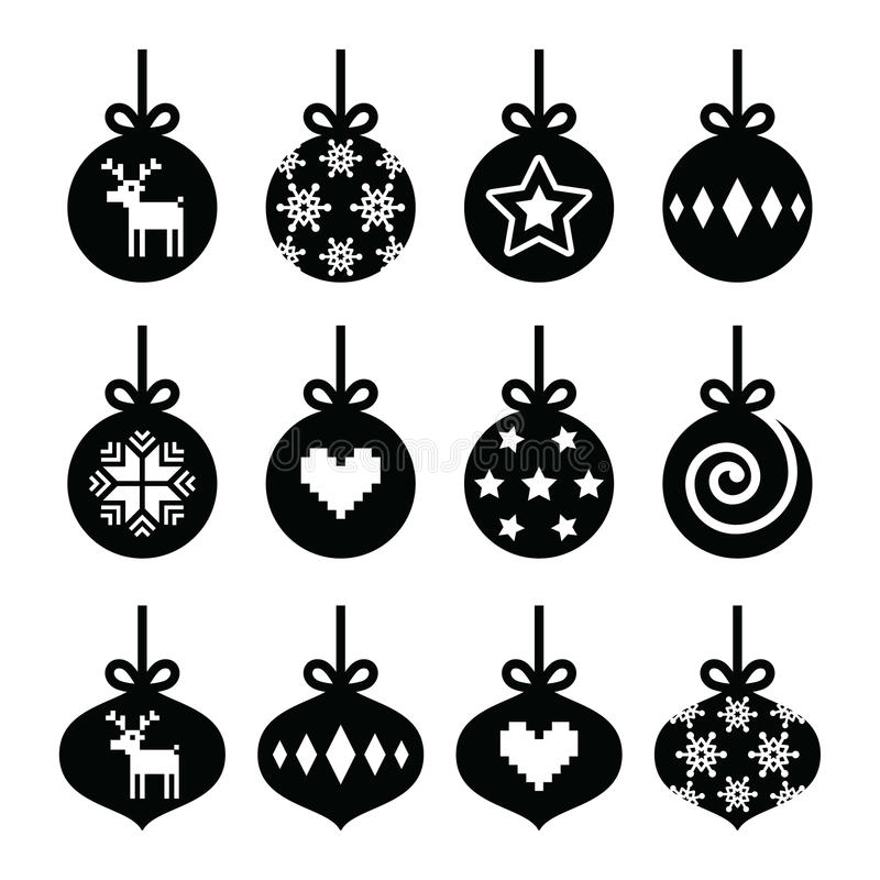 Christmas ball bauble icons set stock