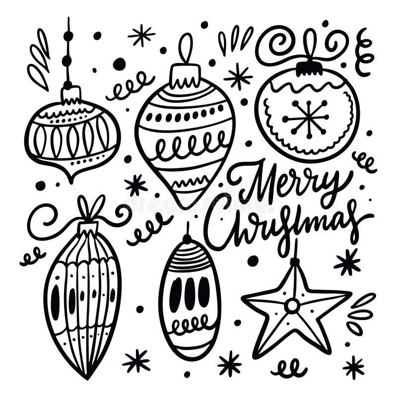 Christmas ball collection set. Hand drawn vector doodle illustration. Black ink vector illustration
