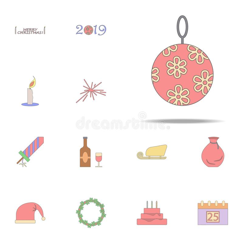 Christmas ball colored icon. Christmas holiday icons universal set for web and mobile. On white background vector illustration