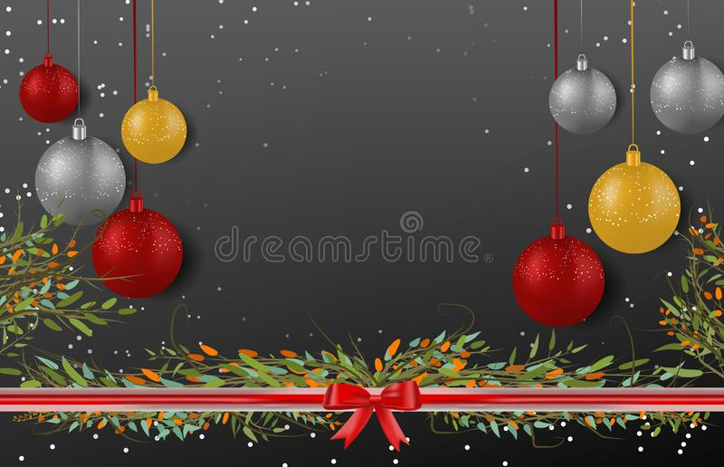 Christmas ball decorations with branches on black background stock image