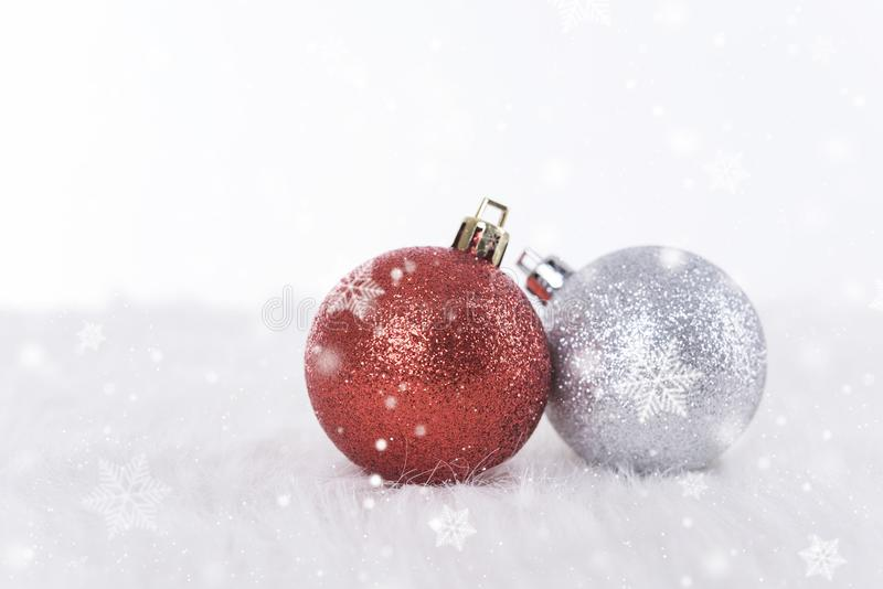 Christmas ball decorations and snowflake. for Happy New Year stock photos
