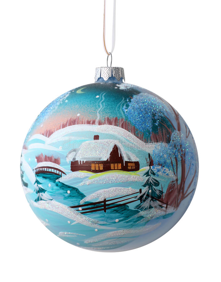 Christmas ball with drawing rustic winter landscape stock image