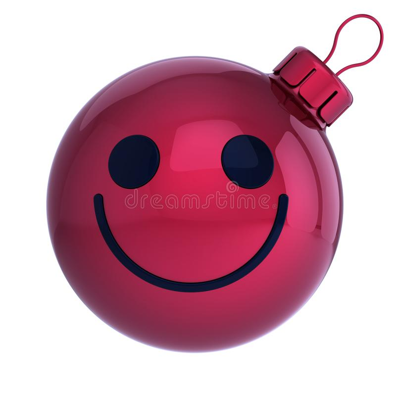 Christmas ball face emoticon. New Years Eve bauble. Cartoon decoration cute red. Merry Xmas cheerful funny person laughing character adornment. 3d rendering stock illustration