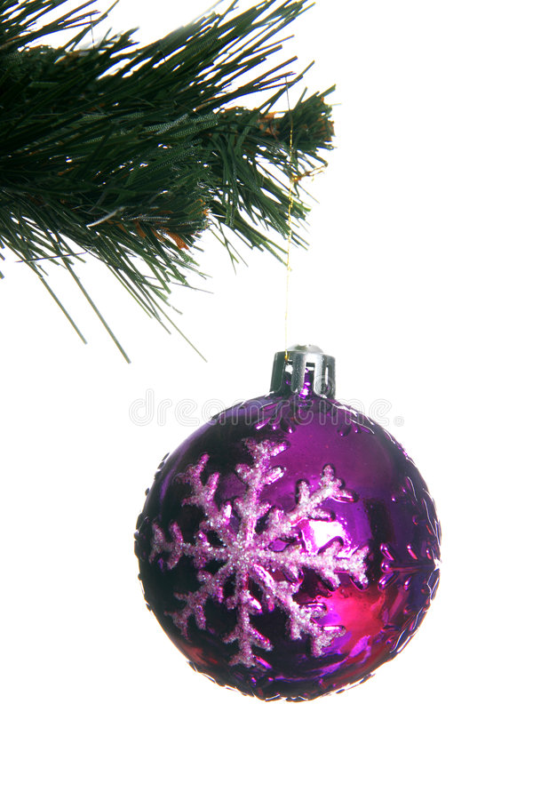 Christmas Ball In Fir Isolated On White Royalty Free Stock Photos