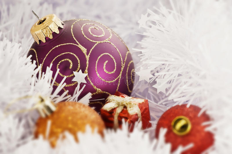 Christmas Ball in Freezing Winter Background royalty free stock images