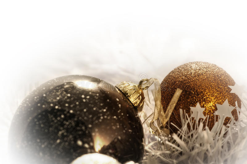 Christmas Ball in Freezing Winter Background royalty free stock image