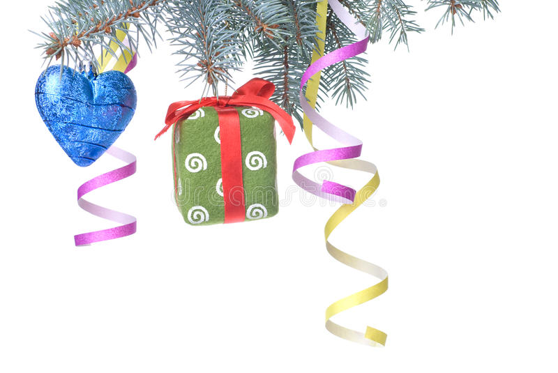 Download Christmas Ball, Gift And Decoration On Fir Tree Stock Image - Image: 11695753