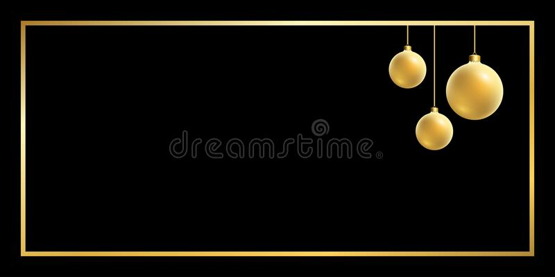 Christmas ball gold background royalty free illustration