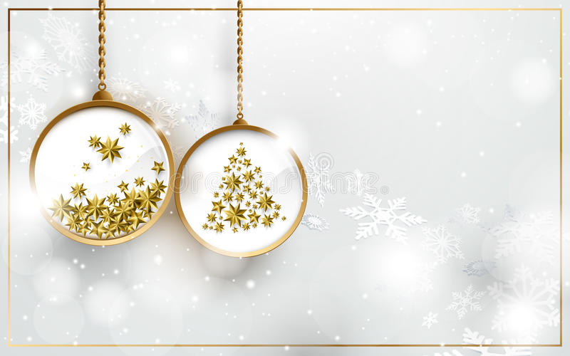 Christmas ball with gold stars on white snowflakes background royalty free illustration