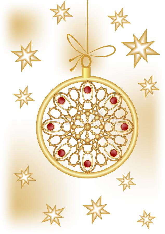 Christmas ball with golden filigree lace patterns and stars on background. Delicious Christmas card theme in vector EPS10. Christmas ball with golden filigree stock illustration