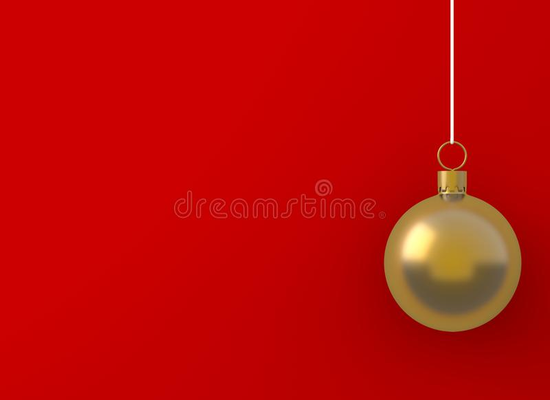 Christmas ball golden ornament hanging on red background. picture copy space for art work design ad or add text message. Holiday c royalty free illustration